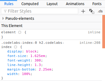 CSS rules for the  element