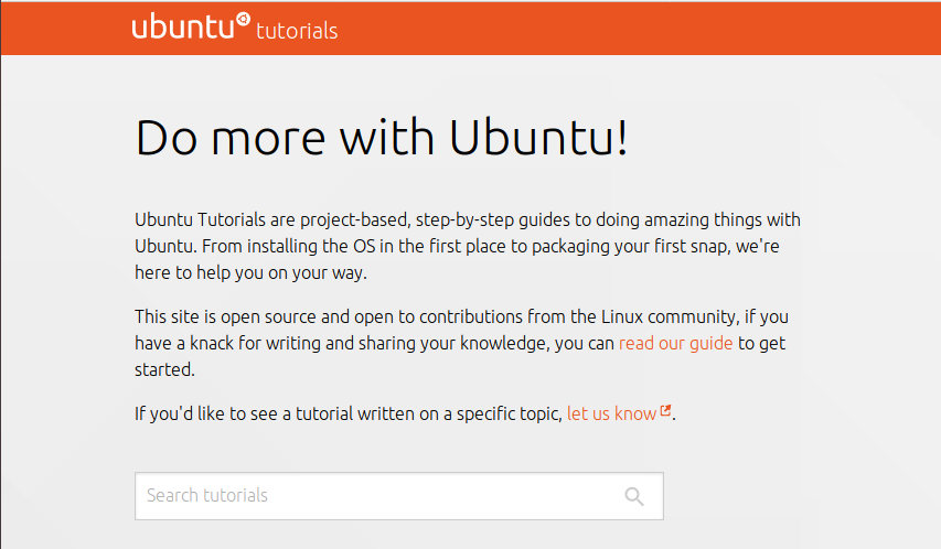 The unmodified Ubuntu tutorials page